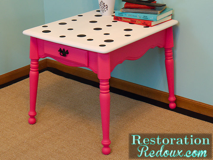 pink polka dot table, painted furniture