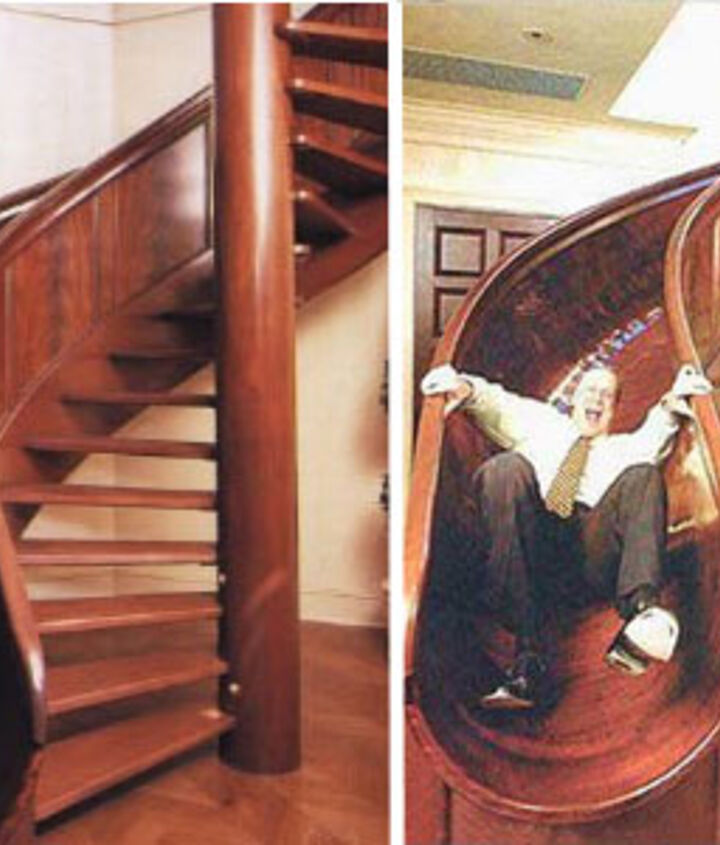 Kids of all agest would have a blast with this staircase - how fun!  A custom woodworker was hired to build this 16 foot tool staircase with 13 foot drop inside an inventor's home!