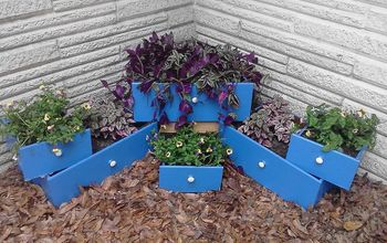 creating a tiered flower bed made with re purposed drawers, flowers, gardening, painting, repurposing upcycling, wider view