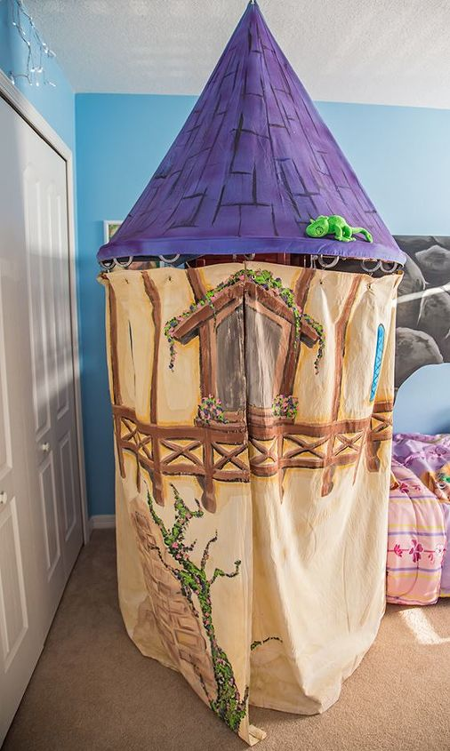 Rapunzels tower is all fabric, and can be easily removed without any damage to the bed or wall. The tower curtains are hung using shower rings and grommets. They open to reveal the hidden stairs to the top of the bunk bed.