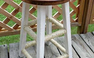 diy distressed sisal wrapped bar stool, painted furniture, Revamped Sisal Wrapped Bar Stool