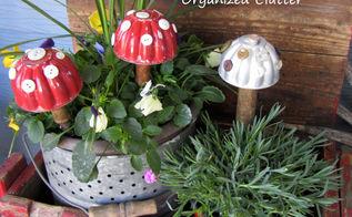 garden junk jello mold container garden toadstools, container gardening, crafts, gardening, repurposing upcycling