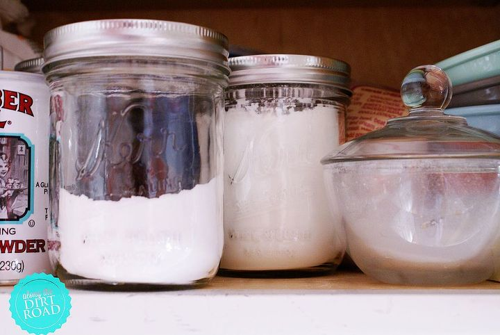 Be sure to lable things that look alike.  The big mouthed jars are wonderful for things that need to be scooped.