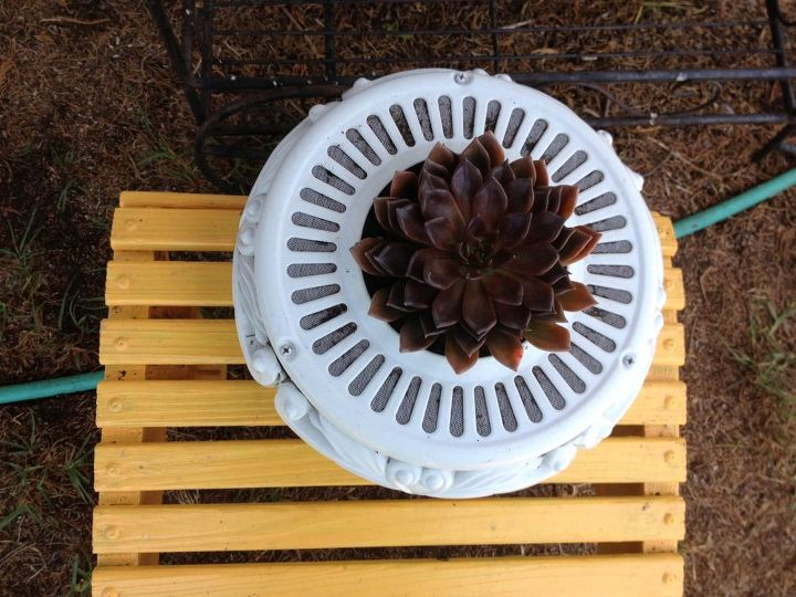 Top view of ceiling fan housing planter
