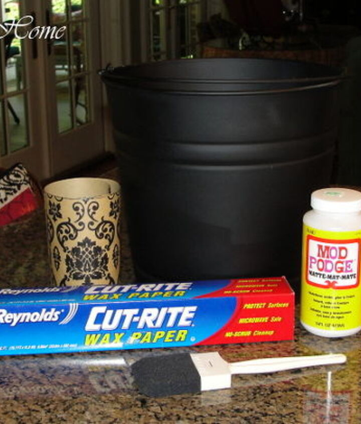 Items needed to decoupage buckets