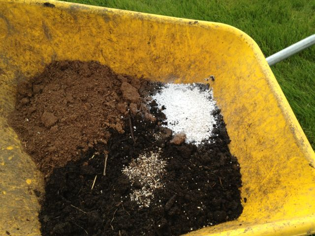 In this picture: Compost on the bottom, peat to the left, perlite to the right, handful of fertilizer to the front.