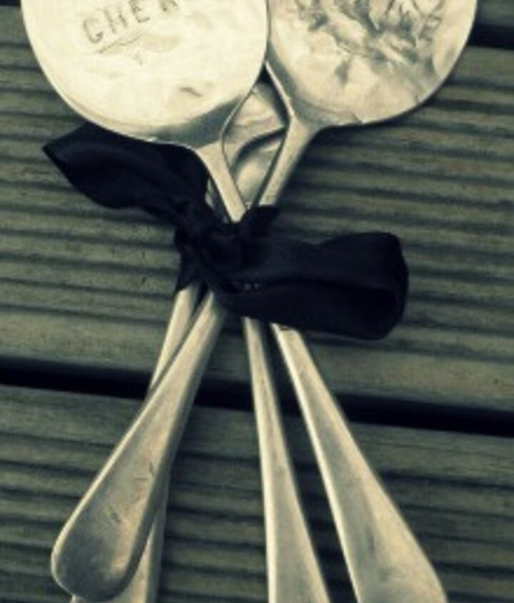 My spoons all tied up pretty in a bow