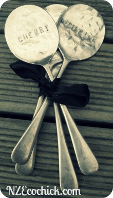 garden spoon labels, crafts, gardening, My spoons all tied up pretty in a bow