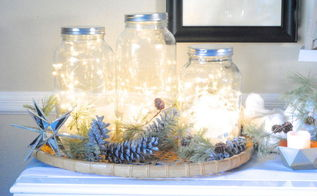 diy holiday decor glittered pinecones, crafts, seasonal holiday decor, wreaths, I also used these glittered pinecones as a backdrop for my Fairy Light Jars too see post for tutorial