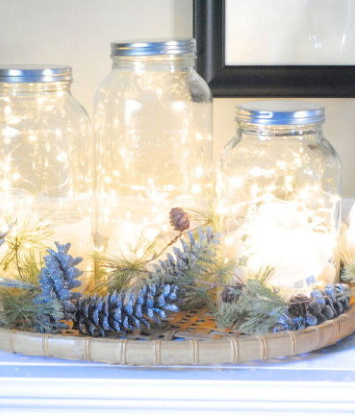 I also used these glittered pinecones as a backdrop for my Fairy Light Jars, too! (see post for tutorial!)