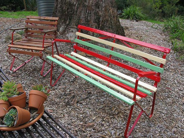 revamped retro 1950 s garden bench, outdoor furniture, painted furniture,  Newly painted frame - Revamped Retro 1950's Garden Bench Hometalk