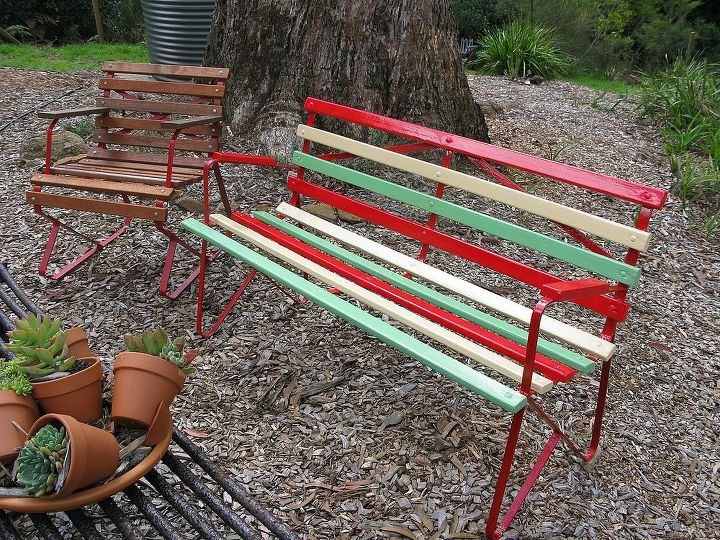 revamped retro 1950 s garden bench, outdoor furniture, painted furniture, Newly painted frame and slats