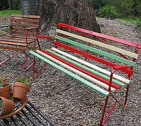 Revamped Retro 1950 S Garden Bench, Outdoor Furniture, Painted Furniture,  Newly Painted Frame