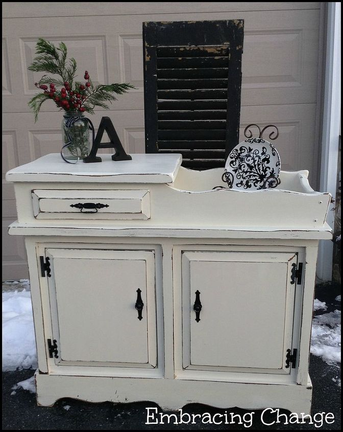 winter white dry sink, painted furniture