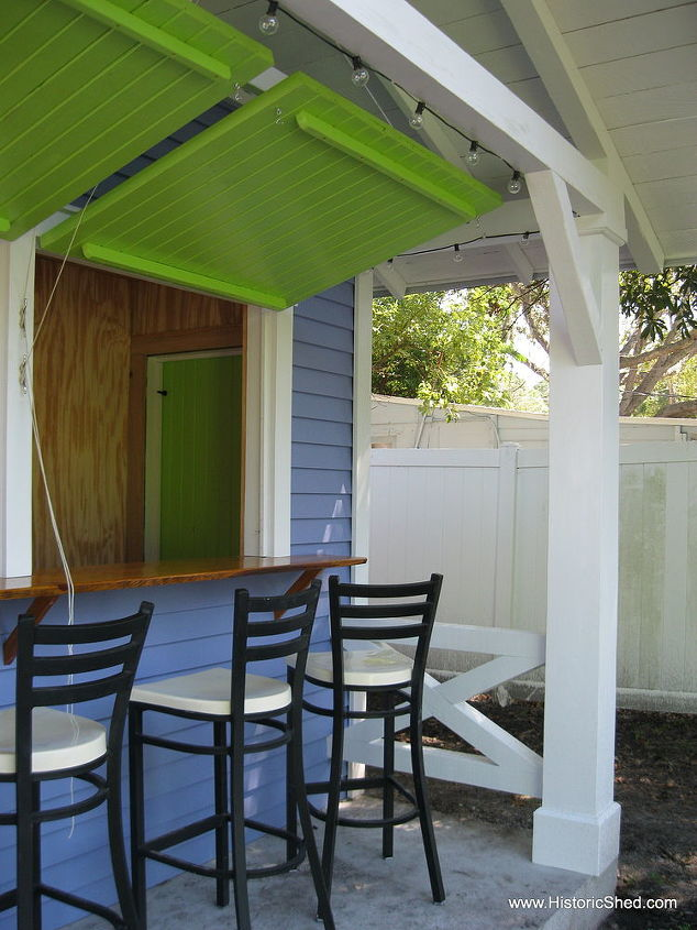Awning shutters reveal a cypress countertop