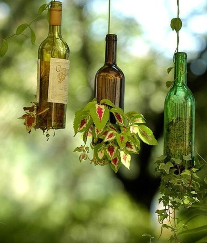 recycled wine bottle planters