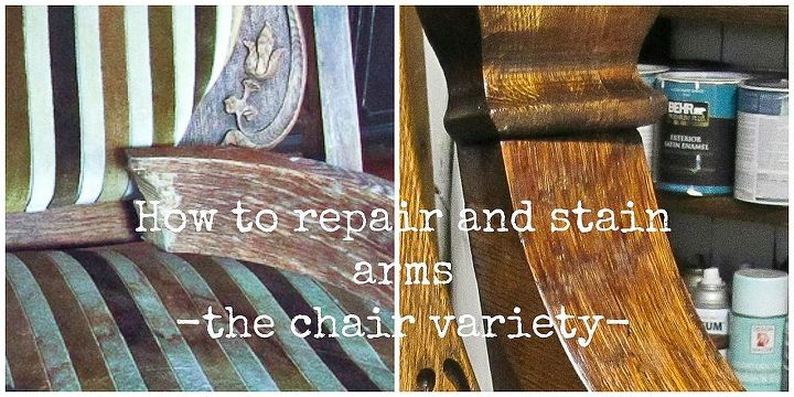 fix and stain broken arms the chair variety, painted furniture