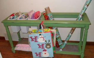 5 sofa table becomes my gift wrap storage system, chalk paint, cleaning tips, repurposing upcycling, Rolls of paper fit in the opening and I can stack boxes on the other side