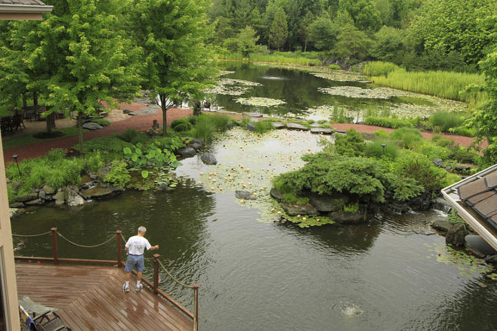 A deck overlooking the pond provides easy access for feeding the pond fish and koi.