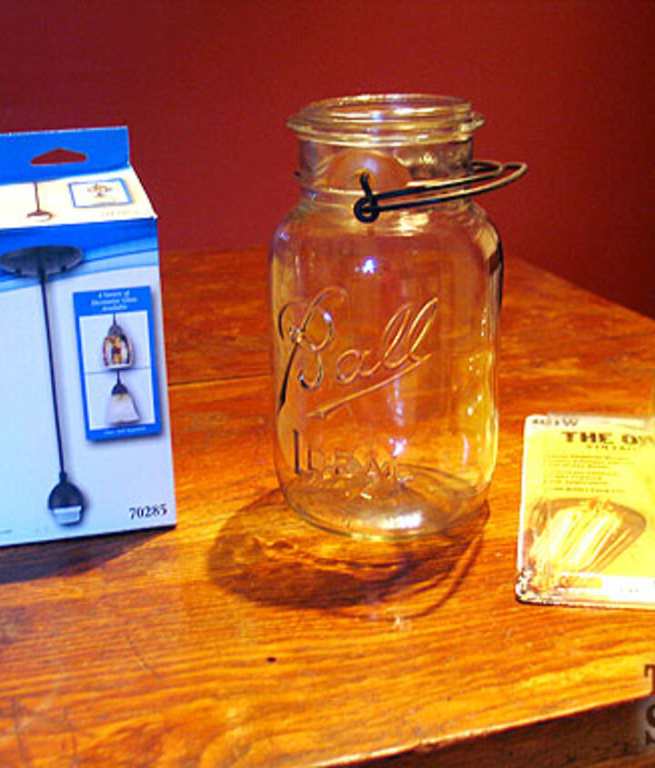 Simple supplies to make a mason jar light pendant.