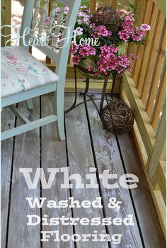 white washing amp distressing porch floor, decks, outdoor living, porches, My budget solution to my screen porch floors white washed distressed