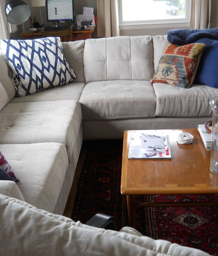View of the new sofa from behind the IKEA chair (there is an open doorway...it's a split level home)