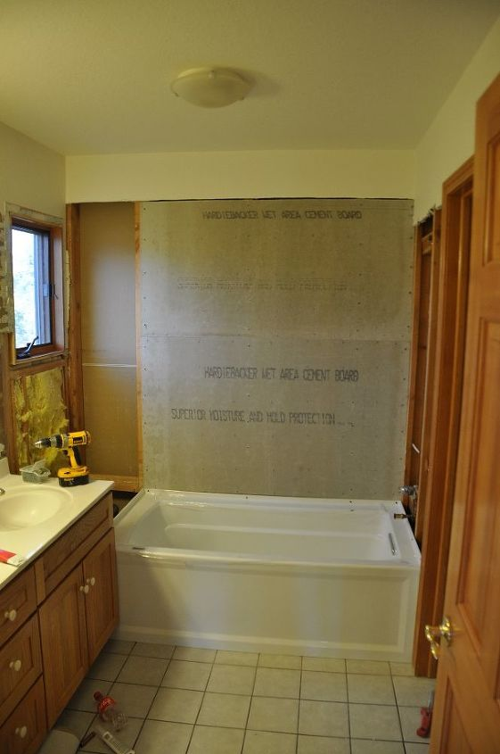 shower remodel, bathroom ideas, doors, home improvement, The tub is in