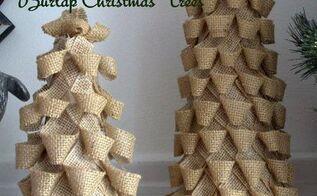 west elm inspired burlap christmas tree, seasonal holiday d cor, DIY West Elm Inspired Burlap Christmas Trees