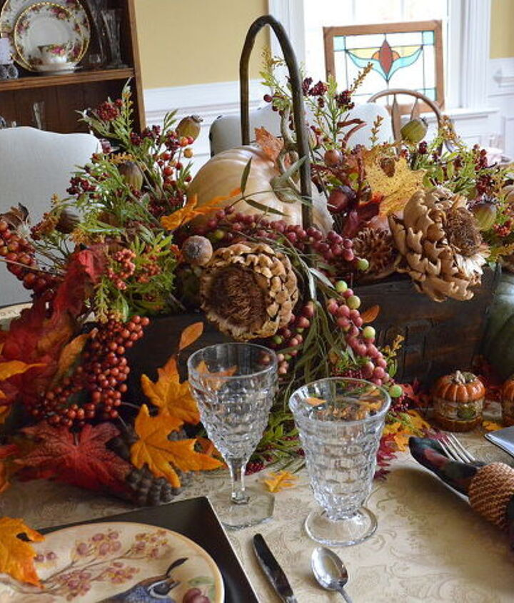 Centerpiece of fall silks and dried florals