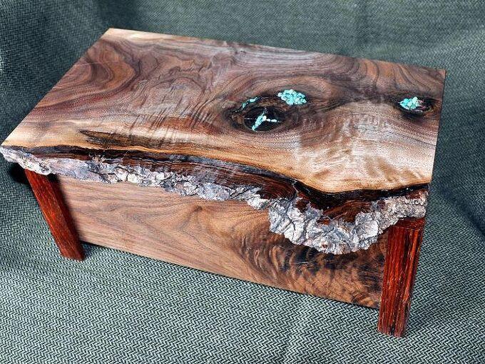 natasha s box, diy, woodworking projects, Walnut with turquoise inlay