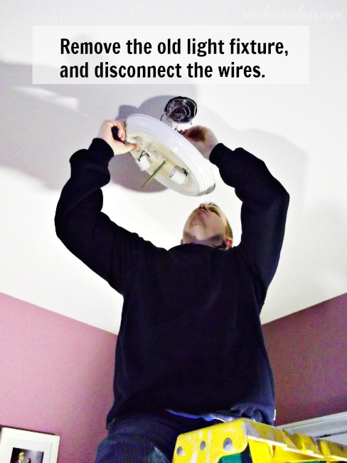 how to install a light fixture, diy, how to, lighting, Turn off the light switch as well as the power source in the control panel Unscrew the current light fixture twist off the wire connectors and disconnect the wires