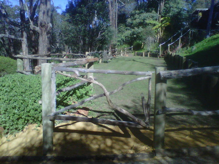 a gate fashioned out of an  old pool fence gate..we simply cut off the vertical poles and screwed tree branches to the frame