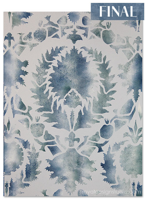 Finished fabric stencil effect. Great for walls and furniture-even fabric stenciling! http://www.royaldesignstudio.com/blogs/how-to-stencil/7855395-stencil-how-to-faded-silk-suzani-fabric-finish