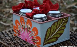 5 easy homemade diy gift ideas, crafts, decoupage, AFTER A cheap thrift store metal bucket gets a makeover with paint and Mod Podged fabric on the sides