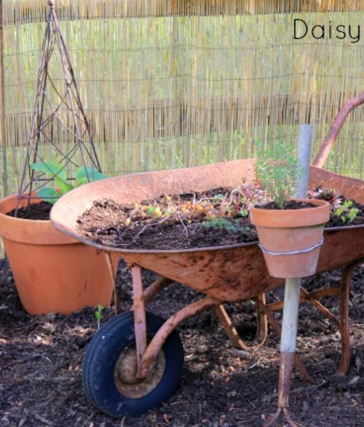 using old tools in the garden, gardening, repurposing upcycling