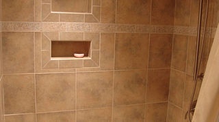 q how to replace fiberglass tub shower insert w cast iron tub and tile, bathroom ideas, home improvement, Built in Niches these use a Stainless Steel insert