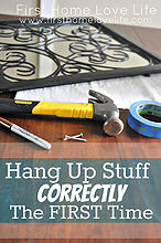 a ridiculously easy trick to hang items correctly the first time, wall decor