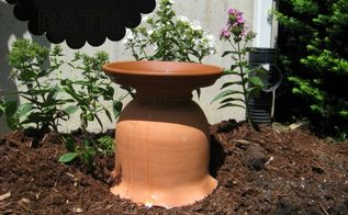 diy bird bath from a clay garden pot, flowers, gardening, repurposing upcycling, My new DIY bird bath from a clay pot and saucer