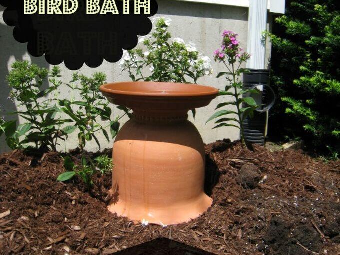diy bird bath from a clay garden pot, flowers, gardening, repurposing upcycling, My new DIY bird bath from a clay pot and saucer