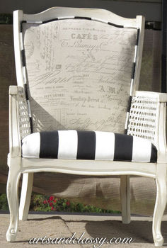 cane back chair makeover, painted furniture, I love juxtaposing 2 different fabrics
