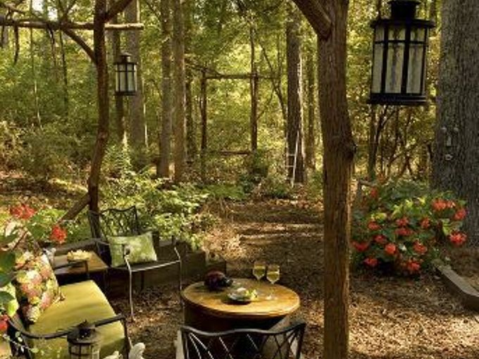 this award winning outdoor space was created by recycling fallen trees recycled, gardening, outdoor living, repurposing upcycling, Gazebo built with fallen recycled trees In distance the view is highlighted by a large picture frame