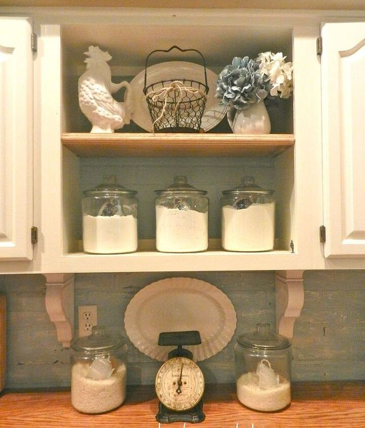 White corbels added underneath cabinets.