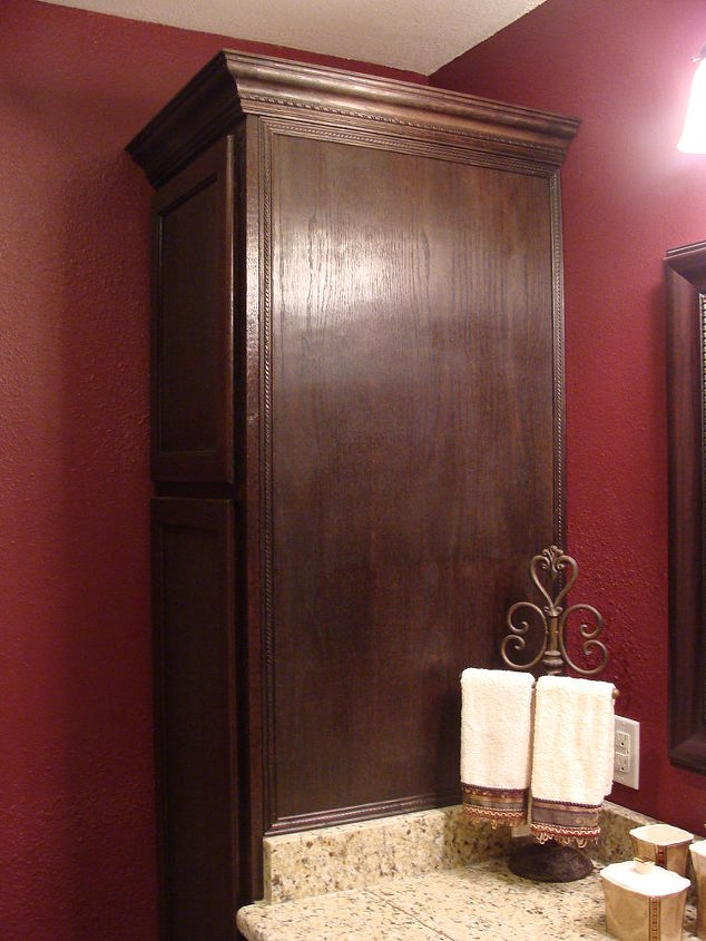 A close-up of one of the towers. I did all of the staining and the hubby did all of the trim and crown molding.