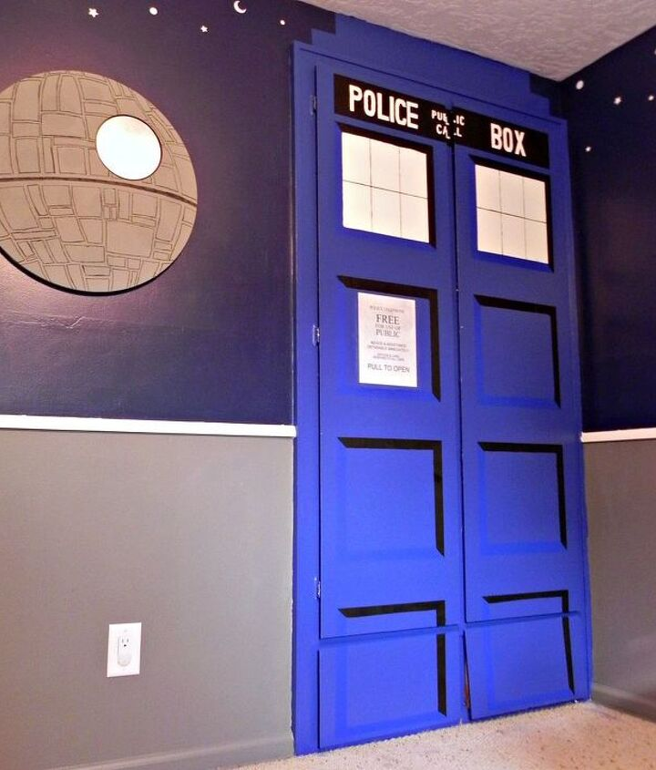 Death Star mirror and TARDIS closet