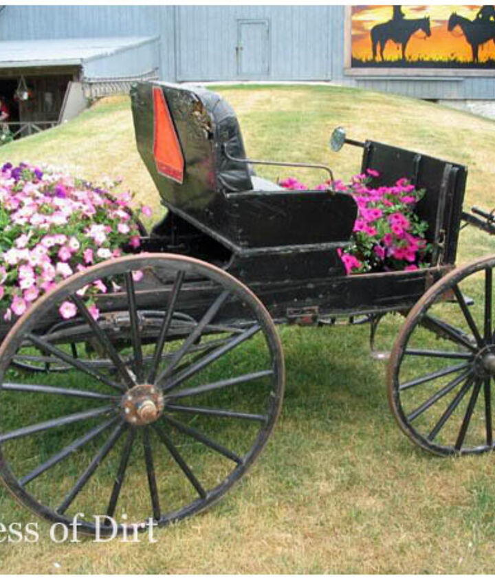 Mennonite buggy becomes a container garden.