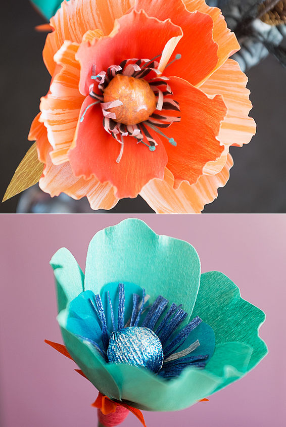 Custom crafting paper in various colors creatively cut and put together into a stunningly beautiful paper flower.
