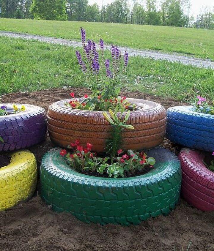 my flower tire garden, flowers, gardening, outdoor living