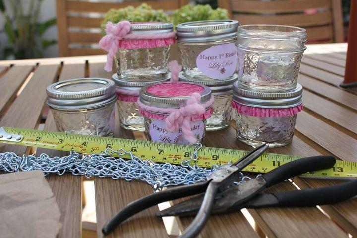 mini mason jars as a cute accessory to your patio, crafts, mason jars, patio, repurposing upcycling, mini mason jar candles before