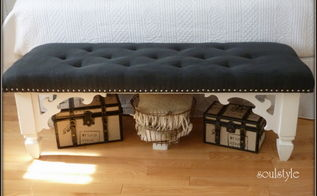 diy upholstered bench, diy, how to, painted furniture, reupholster