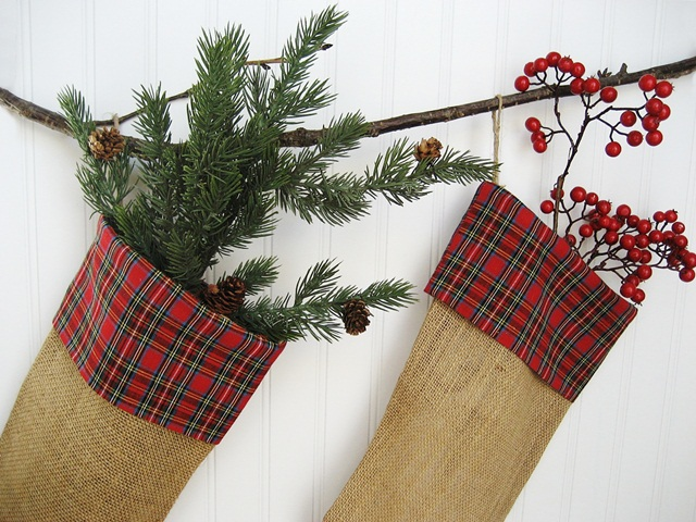 my christmas stockings burlap and plaid christmas decorations crafts seasonal holiday decor - Plaid Christmas Stockings